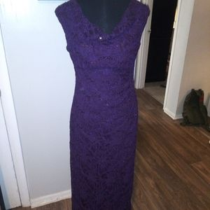 Ralph Lauren purple lace and sequin evening gown